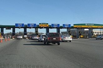 "Massachusetts Turnpike - The ""Weston tolls"" that separated the Western Turnpike from the Boston Extension, October 2006"