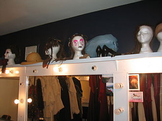 Television studio - A make-up room at the Theatre Royal in  Wexford, Ireland (October 2002).