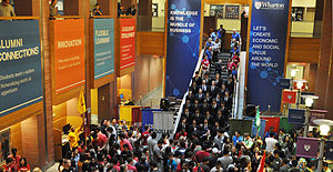 Wharton School of the University of Pennsylvania - Wharton undergraduate students with cohort banners