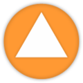 White triangle in orange background.png