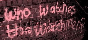 Watchmen - Graffiti similar to that which appears in Watchmen. Hemel Hempstead, May 2008.