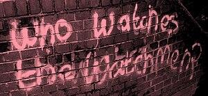 Watchmen - Graffiti similar to that which appears in Watchmen. Hemel Hempstead, May 2008.