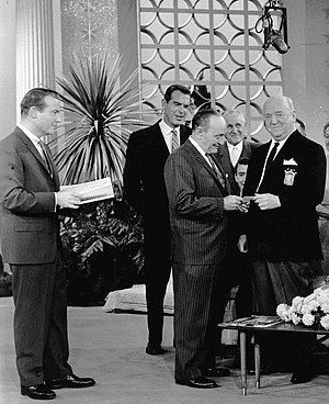 Fred Haney - At right actor William Frawley receives from Haney a lifetime pass to Angels games during a January 1961 episode of This Is Your Life