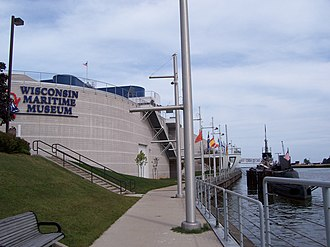 Manitowoc River - The mouth is visible surrounding the USS Cobia (right) at the Wisconsin Maritime Museum.