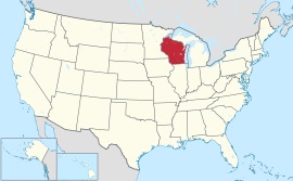 Map of the United States with Wisconsin highlighted