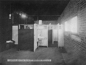 1917 Bath Riots - Women's baths at the El Paso disinfecting plant of the US Immigration Station