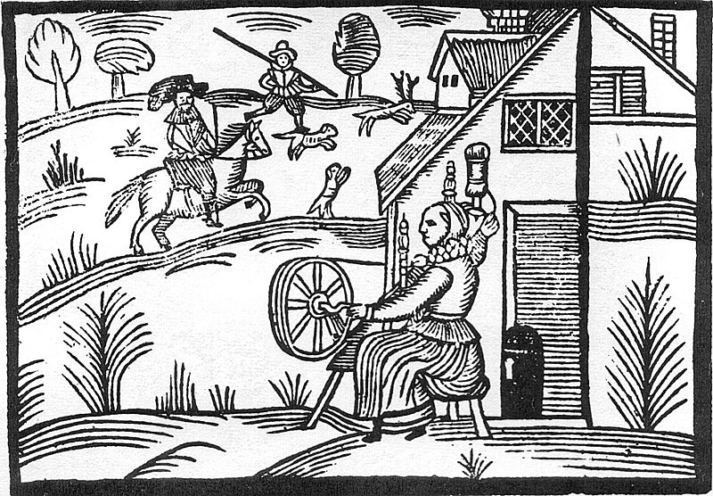 File:Woodcut Woman Spinning.jpg