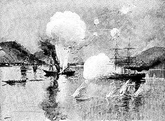 Battle of Shimonoseki Straits - Wyoming sinking the Japanese Lancefield.