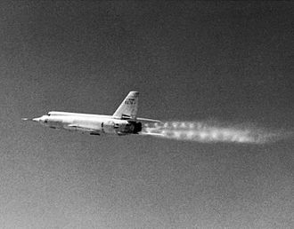 Bell X-2 - This shows the twin set of shock diamonds, characteristic of supersonic conditions in the exhaust plume from the two-chamber rocket engine