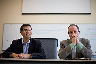Jared Polis - Polis (right) with California Representative Xavier Becerra in Westminster, Colorado