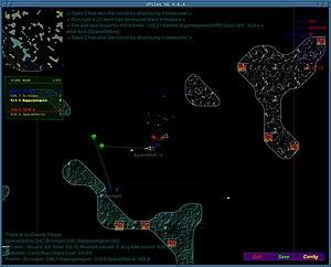 XPilot - Screen capture of XPilot NG running under fvwm on Linux