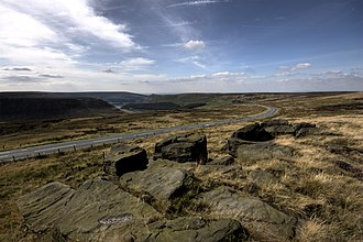 Moors murders - Saddleworth Moor, viewed from Hollin Brown Knoll. The bodies of three of the victims were found in this area.