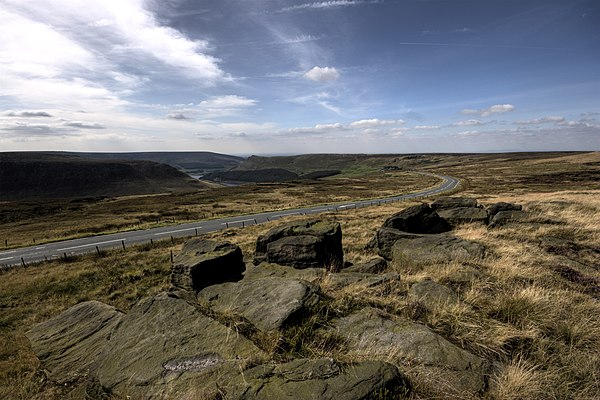 Saddleworth Moor, viewed from Hollin Brown Knoll. The bodies of three of the victims were found in this area. Yeoman hey and dovestones from hollin brown knoll.jpg