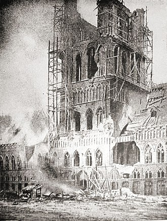 Ypres - Ypres's shell-blasted Cloth Hall burns