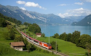 Brünig railway line - An InterRegio train following the Lake Brienz shoreline. The locomotive is a rack-and-adhesion type HGe 101.