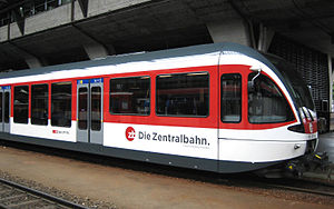 Zentralbahn - A Zentralbahn Stadler 'SPATZ' unit, as used on the company's S-Bahn and Regio services, displays the company's logo.