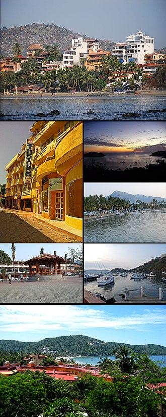Zihuatanejo - Playa Principal with docks in background