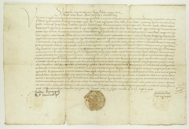 File:Zygmunt II August król polski podaje do wiadomości, iż na sejmie piotrkowskim w roku ubiegłym zostało zatwierdzone prawo składu miasta Poznania.png