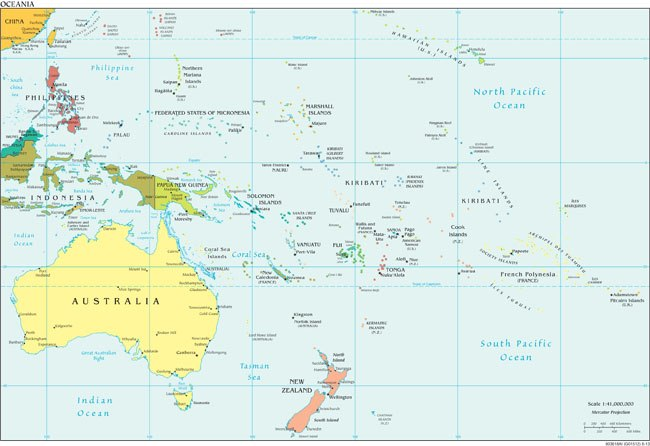 A map of Oceania from the CIA World Factbook