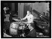 """Red"" Saunders, drummer, and his band, at the Club DeLisa, Chicago, Illinois.jpg"