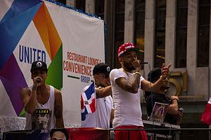 Sensato del Patio - (From left to right) Nikolodian, DJ Wuazat, Sensato del Patio, and El Tal Mickey at the Dominican Day Parade (2015)