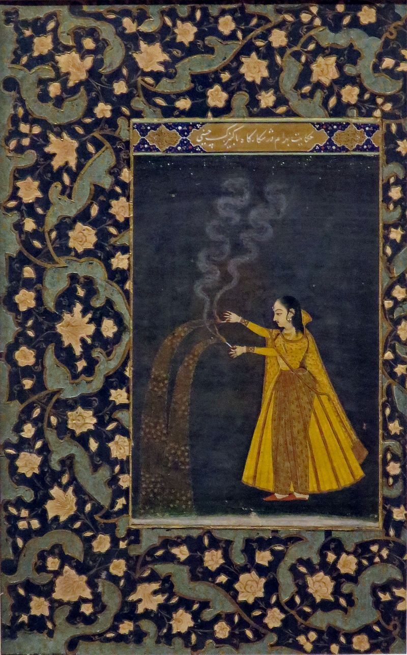'Woman Holding Fireworks', India, 19th century, Honolulu Museum of Art, 3269.1.JPG