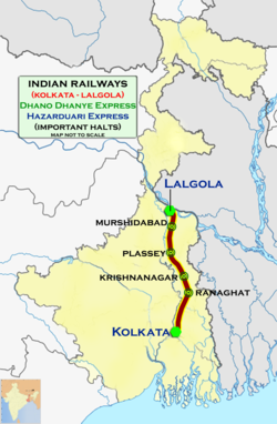 (Kolkata - Lalgola) Hazarduari Express and Dhano Dhanye Express route map.png