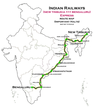 New Tinsukia - Bengaluru Weekly Express - New Tinsukia - Bengaluru Express Route map