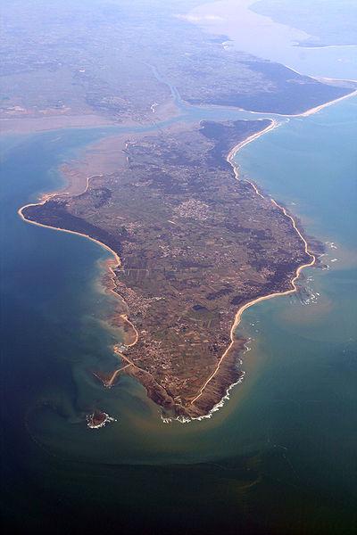 Vue aérienne de l'île. En arrière-plan, la presqu'île d'Arvert et l'estuaire de la Gironde.