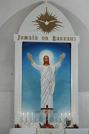 "Jumala - Word Jumala as the name of God in Russian Lutheran church (lit: ""God is love"")"