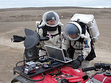 Crew members Kristine Ferrone and Joseph Palaia operate the Maveric Unmanned Aerial Vehicle (UAV) on July 24, 2009.