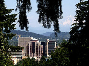 1000 Broadway - View of 1000 Broadway from the West Hills with Mount Hood rising above downtown Portland