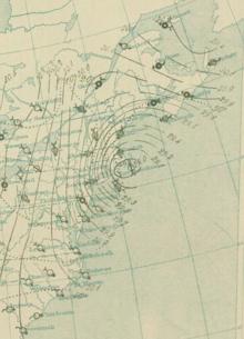 Analisi superficiale della grande tempesta del 1888. Le aree con una maggior concentrazione di isobare indicano venti più forti