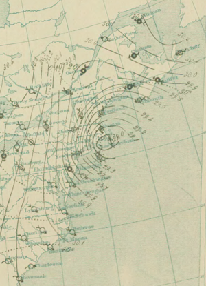 Surface weather analysis - Surface analysis of Great Blizzard of 1888 on March 12, 1888 at 10 pm
