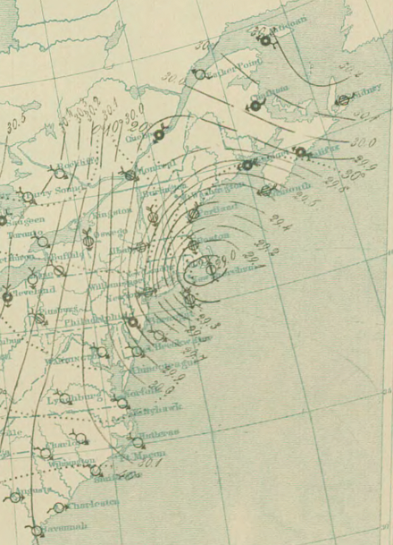 Surface analysis of the Great Blizzard of 1888. Areas with greater isobaric packing indicate higher winds. 10 PM March 12 surface analysis of Great Blizzard of 1888.png