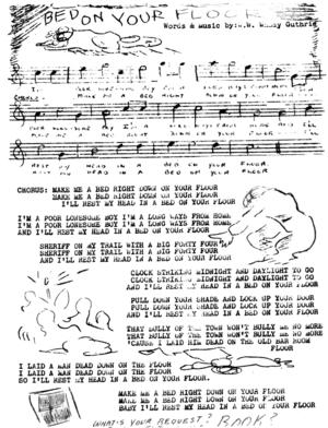 Page from booklet of Woody Guthrie sheet music...