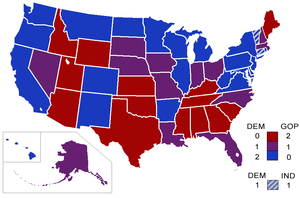 Senators' party membership by state, since Feb...