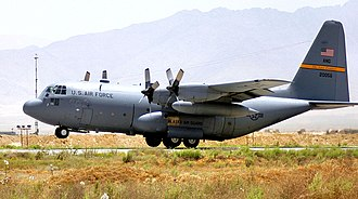 Alaska Air National Guard - 144th Airlift Squadron - Lockheed C-130H  takes off from Bagram Airfield, Afghanistan.  The 144th  is the oldest unit in the Alaska Air National Guard, having over 60 years of service to the state and nation