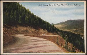 Ute Pass - Rising out of Ute Pass. Pike's Peak Auto Highway (Colorado), 1924.
