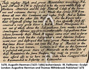 Moneton - Augustin Herrman printed the Sussquahana and Sinaicus Indians went over to the Black Mincquaas' River and destroyed that Nation, a contemporary telling of trade, mountain's weather and Iroquois nation building, 1670.