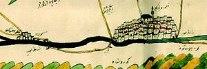 Old Bridge, Hasankeyf - Image: 1671 Hasankeyf and Diyarbekir from Ottoman map of Tigris and Euphrates 2012 Kurşun Z Fig 2