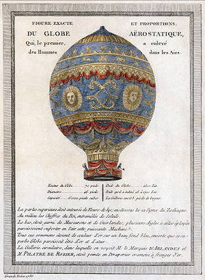 Early flying machines - A 1786 depiction of the Montgolfier brothers' balloon.