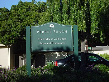 Sign of the famous Pebble Beach Golf Links, Pe...
