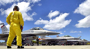 149th Fighter Wing - TSgt. Gerardo Guevara waits for his F-16 to shut down their engines before conducting his post flight checks at Hickam AFB, Hawaii on September 8, 2006. Six F-16s from the Texas Air National Guard 149th FW came to Hickam to participate in Exercise Sentry Aloha