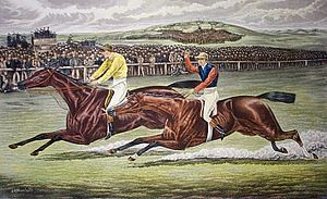 Ormonde (horse) - Engraving of the closing stages of the 1886 Derby, with Ormonde leading The Bard