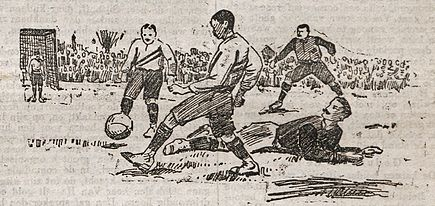 Illustration of a Netherlands-Belgium cup match at Rotterdam's Schuttersveld pitch in 1905 1905RNBmoment(2).jpg