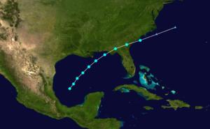 1907 Atlantic hurricane season - Image: 1907 Atlantic tropical storm 3 track