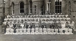 Oxenfoord Castle School - Pupils and teachers of Oxenfoord Castle School outside the school building in 1963