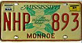 1981 Mississippi license plate NHP 893.jpg