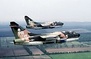 198th Tactical Fighter Squadron A-7D Corsair IIs in formation
